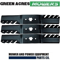 "3 x TOOTHED MULCHING BLADES FOR 50"" CUT MTD ,GATOR PREDITOR TYPE 942-04053"