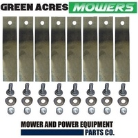 "8 X BLADE & BOLTS FOR 32"" COX RIDE ON MOWER ( LOW FLUTE ) SKIT54"