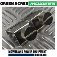 2 X GRASS DEFLECTOR CLAMP & SCREW SET FOR ROVER AND SCOTT BONNAR CYLINDER MOWERS