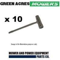 10 x LAWN MOWER TRIMMER CHAINSAW SPARK PLUG  SPANNER 19 AND 16 mm ENDS