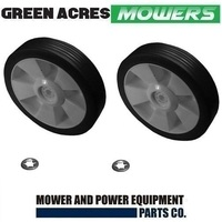 2 X 7 INCH WHEELS & RETAINER CLIPS FOR ROVER MASPORT VIKING LAWN MOWERS