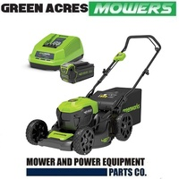 "GREENWORKS 40V 18"" BRUSHLESS STEEL DECK LAWNMOWER CORDLESS KIT 4.0Ah BATTERY CHARGER"
