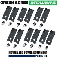 "12 X BLADES & BOLTS FOR 21"" PLP BUSHRANGER MOWERS 590013 , 539327"
