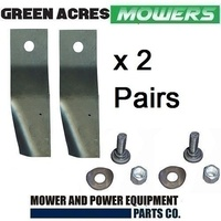 "2 X BLADES & BOLT SETS FIT 20"" MTD MOWERS WITH A SWING BACK CARRIER"