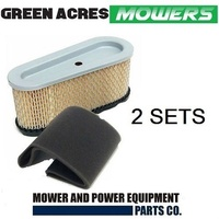 2 SETS OF AIR & PRE  FILTER FOR BRIGGS AND STRATTON MOTORS 493910 691667