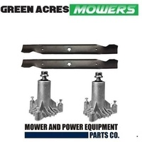 "2 x SPINDLES AND 1 X BLADE SET FITS SELECTED 38"" HUSQVARNA & CRAFTSMAN MOWERS"