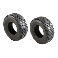 2 X RIDE ON MOWER TYRE BLOCK PATTERN 4 PLY 20 X 8 X 8 COMMERCIAL GRADE